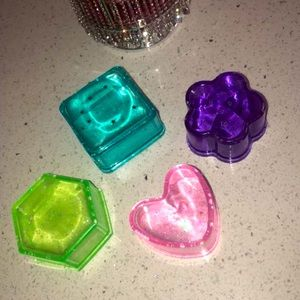 Handmade boxes sparkly shapes flowers hearts square hexagon sparkly y2k neon
